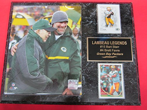 Bart Starr Brett Favre Green Bay Packers 2 Card Collector Plaque w/8x10 Commemorative Photo FAVRE NUMBER RETIREMENT 2015 Bart Starr Memorabilia