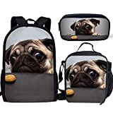 Pug Dog Pattern 3 Pieces Large Backpack 17 inch with Insulated Thermal Lunch Bag and Zipper Closure Pencil Case