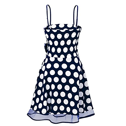 Laeticia Dreams - Vestido de mujer Petticoat Rockabilly S M L XL Blau/Weiß Punkte Groß