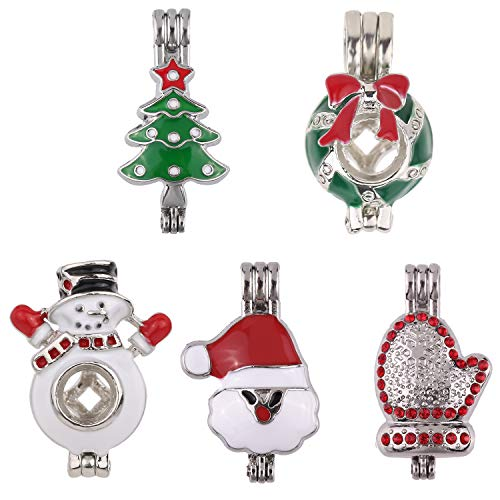 10pcs Mixed New Enamel Crystal Inlay Christmas Theme Pearl Bead Cage Pendant Essential Oil Scent Diffuser Pendant Necklace Jewelry Making Supplies (Christmas Theme)