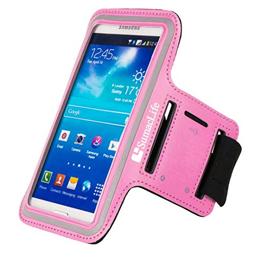 SumacLife Outdoor Sports Neoprene Armband Case Pouch for HTC ONE 8XT / ONE X / One Remix / ONE mini 2 / HTC Desire 612 / 610 / 510 / HTC One E8(Pink) (Htc Desire 510 Track Case)