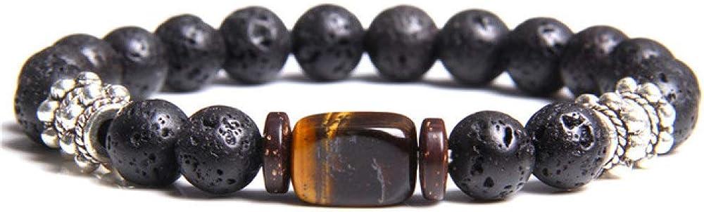 Pulsera de piedra hecha a mano, piedra natural, ojo de tigre, 8 mm, ónix negro, para mujeres, hombres, pulseras de yoga, joyería