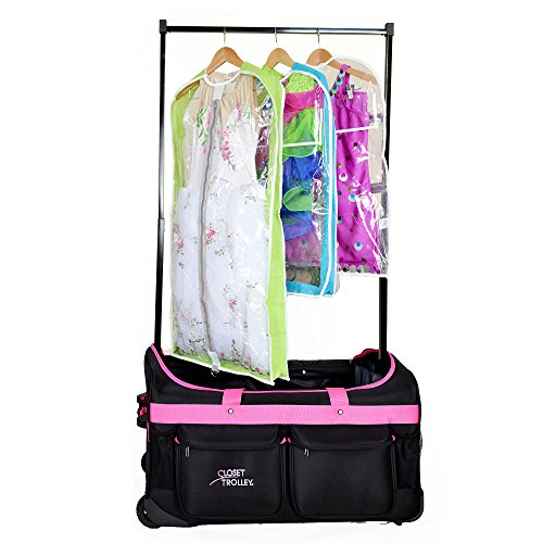 Closet Trolley Dance Bag with Garment Rack - PINK DANCE DUFFEL by Closet Trolley