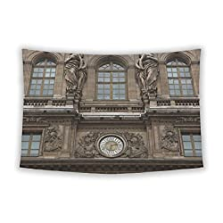 Gear New Wall Tapestry For Bedroom Hanging Art Decor College Dorm Bohemian, Renaissance Facades Of Louvre Museum In Paris France, 104x88