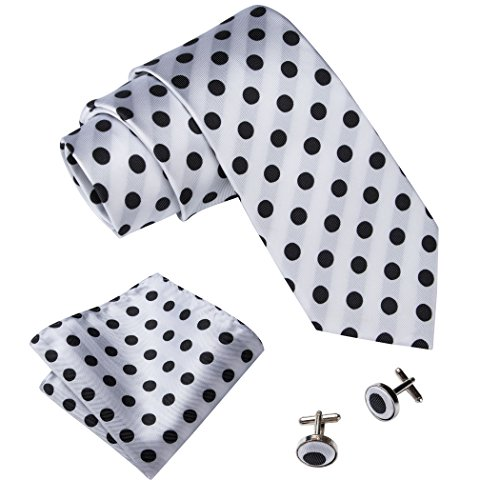 Barry.Wang Retro Black and White Dots Necktie Set]()