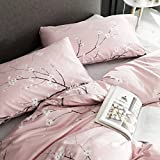 Japanese Oriental Style Cherry Red Blossom Floral branches Print Duvet Quilt Cover 300tc Cotton Bedding 3 piece Set (King, Rose Dust)