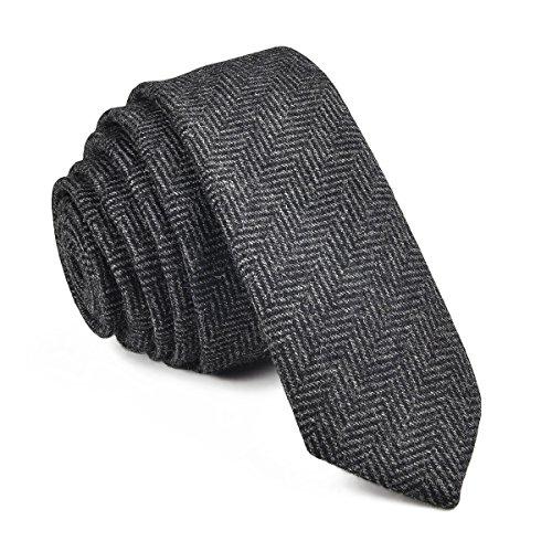 VOBOOM Mens Necktie Skinny Tie Tweed Pattern Woolen Neck Tie-many colors (06 Black)