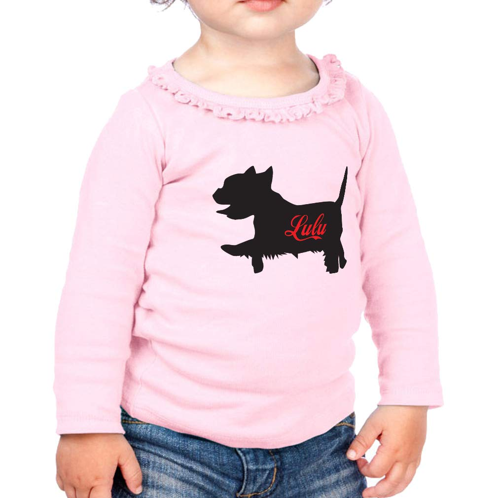Personalized Dog Silhouette Cotton Girl Toddler Long Sleeve Ruffle Shirt Top