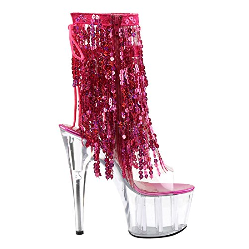 Pleaser Donna Ado1017sqf / Cs / C Stivaletto Caviglia Clear-hot Pink Holo / Clear