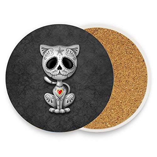 (Kidmekflfr Dark Zombie Sugar Kitten Cat Absorbent Coaster For Drinks - 1 piece Ceramic Thirsty Stone With Cork Back Fit Big Cup - Make A Home Decor Style )