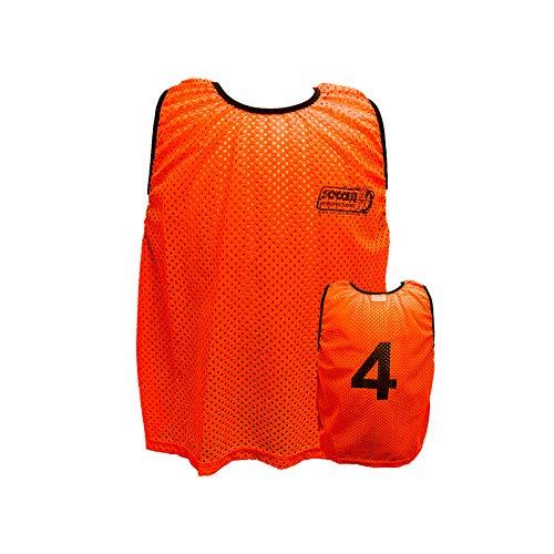 Soccer Innovations Adult Mesh Numbered Scrimmage Vest Style Bib Set 1-18, Orange, Set of 18