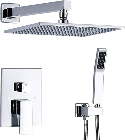 Plumbing Fixtures Chrome 12 Shower Faucet Wall Mounted Tap Hand