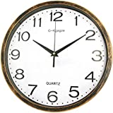 """G-Kgagze 12"""" Battery Operated Silent & Non-Ticking Wall Clock-Easy to Read (Cinnamon)"""