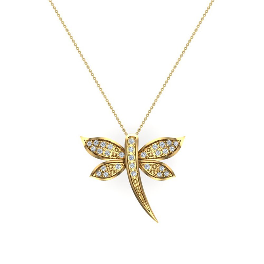 Dragon-fly Diamond Necklace 18K Yellow Gold 0.36 ct