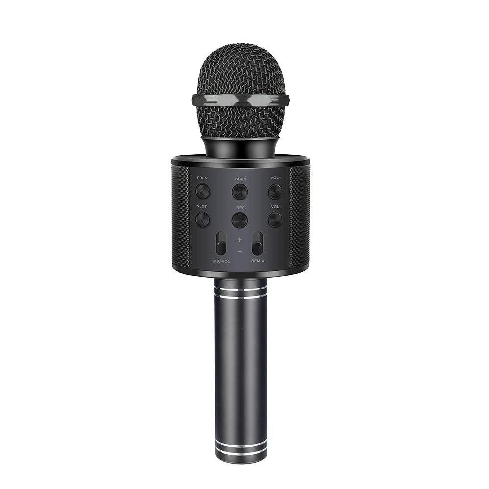 Henkelion Wireless Bluetooth Karaoke Microphone for Kids, Kids Karaoke Machine Portable Handheld Mic Speaker Toy Home Party Birthday Graduation for iPhone Android iPad All Smartphone - Black