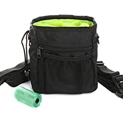 ScivoKaval Dog Treat Training Pouch, Built-in Poop Bag Dispenser, Adjustable Waist Belt and Over the Shoulder Strap Included, Treats and Toys Carriers, Roll of Waste Bags Included (Black)
