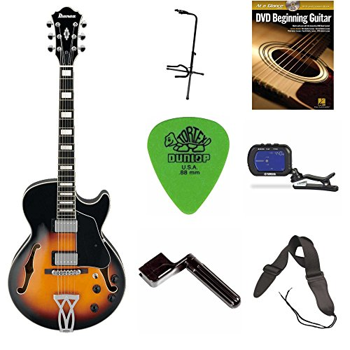 Ibanez AG75 Artcore Hollowbody Electric Guitar (Brown Sunburst) + DVD, Pics, Strap, Winder,Tuner & Stand