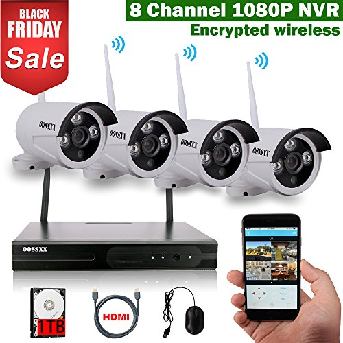 OOSSXX 8-Channel HD 1080P Wireless Network/IP Security Camera System(IP Wireless WIFI NVR Kits),4Pcs 960P Megapixel Wireless Indoor/Outdoor IR Bullet IP Cameras,P2P,App,1TB HDD by OOSSXX