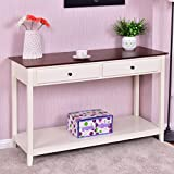 Wood Console Sofa Table Accent Stand with Drawer and Shelf