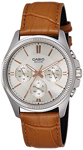 (Casio #MTP1375L-9AV Men's Leather Band Fluted Bezel Multifunction Gold Dial Watch)