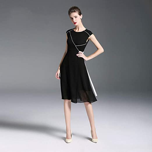 CVCCV Vestido Negro Femenino 2019 Costura Sin Mangas Cintura ...
