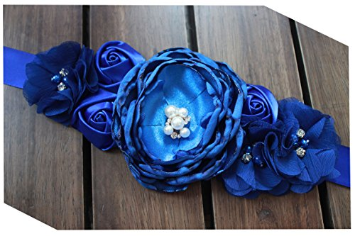 Flowers materniry sash baby shower pregnancy belts for Mom to be (Royal blue)