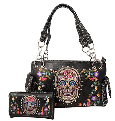 HW Collection Western Sugar Skull Roses Flowers Concealed Carry Handbag Purse and Crossbody Wallet (Black)