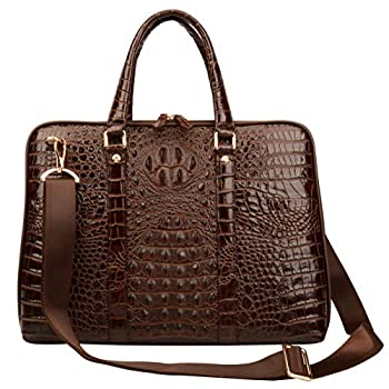 Image of Ainifeel Men's Crocodile Embossed Genuine Leather Briefcase 16'' Laptop Bag Handbags for Business (Coffee) Luggage