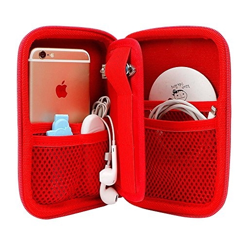 Hard Drive Organizer, Portable Carrying Case Built-in Buffer Layer, Travel Case with Mesh Pockets, Protective Phone Cases, Zipper Enclosure Bag for Hard Drive Passport USB Charger Card Power Bank by GLCON (Image #2)