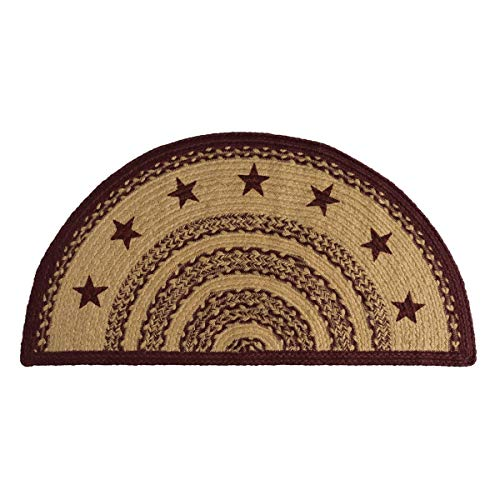VHC Brands 6128 Classic Country Primitive Flooring-Burgundy Tan Jute Red Stenciled Stars Half Circle Rug, 16.5 x 33 (Cheap Country Decor)