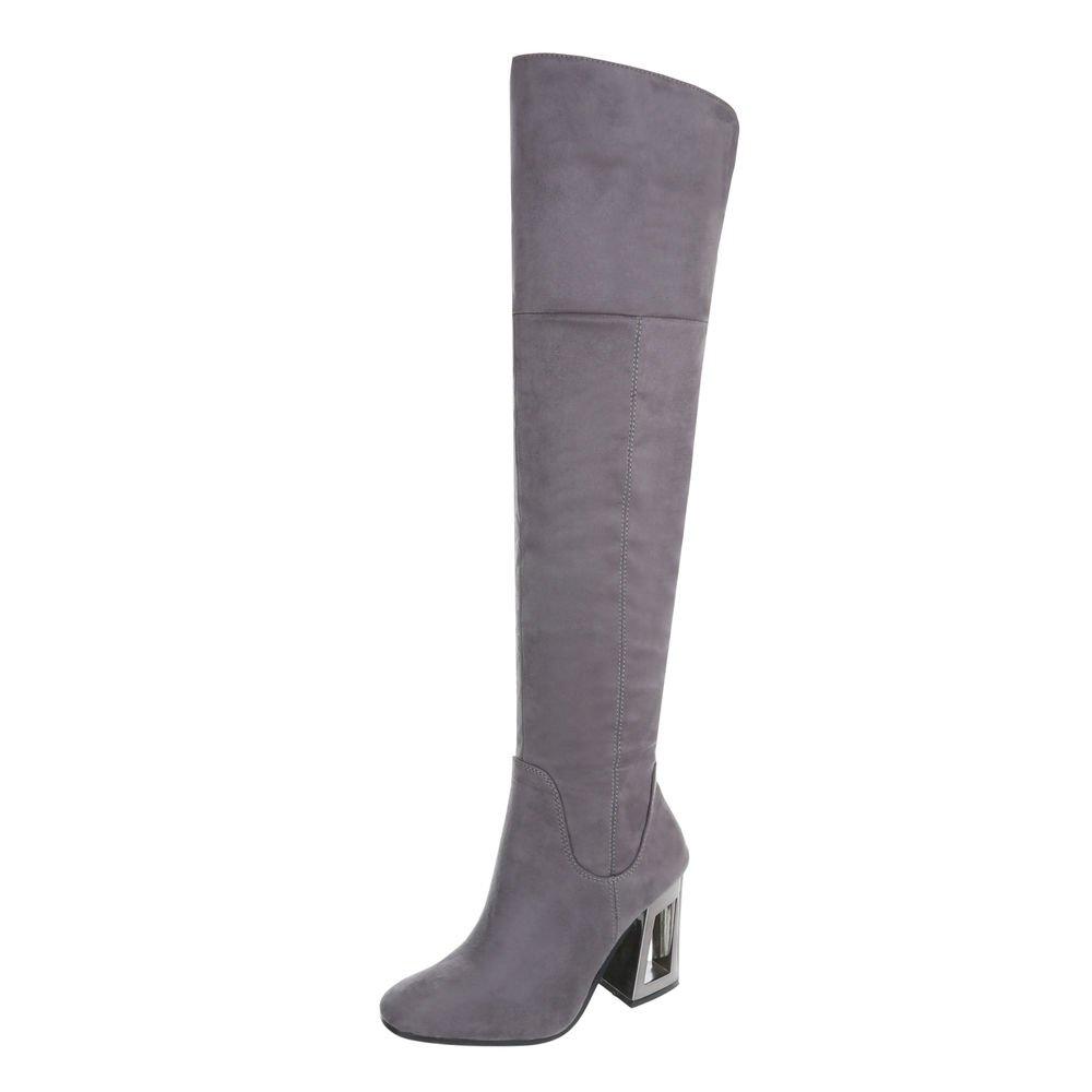 Ital-Design Overknees Damenschuhe Overknees Pump High Heels Reißverschluss Stiefel  41 EU|Grau