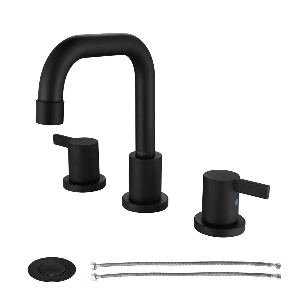 PARLOS Two-Handle Widespread Bathroom Faucet with Pop-up Drain Assembly and cUPC Faucet Supply Lines, Matte Black, 14136 by PARLOS