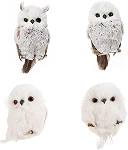4 Pcs Owl Ornaments Hanging Owl Ornament with Branch Plush Owl Artificial Owl Christmas Tree Hanging Decor