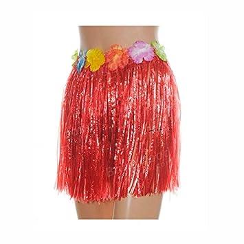 Falda Hawaiana Infantil Hula Roja (40 cm): Amazon.es: Juguetes y ...