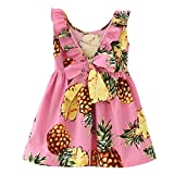 Ruffles Bowknot Girl Dress Pink Pineapple Printed Sleeveless Back V Design for 2-6years (2years, Pink)