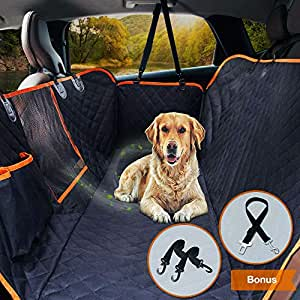 "Upgraded Dog Seat Cover for Cars Trucks SUVs Pet Car Seat Cover Waterproof Dog Travel Back Seat Hammock Bench Protector with Mesh Window/Seat Belt Opening/Storage Pocket, 54"" W x 58"" L, Black/Orange"
