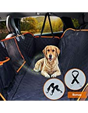 Dog Car Seat Cover Waterproof Pet Seat Cover with View Mesh & Side Flaps & Dog Car Seat Belt, Non-Slip Backing Dog Back Seat Hammock for Cars, Trucks and SUVs - 147 x 137 cm