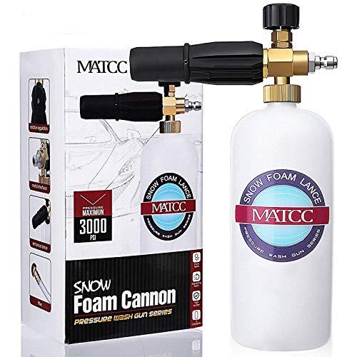 MATCC Upgrade Foam Cannon, Improved Foam Nozzle Pressure Washer Jet Wash Fit 1/4