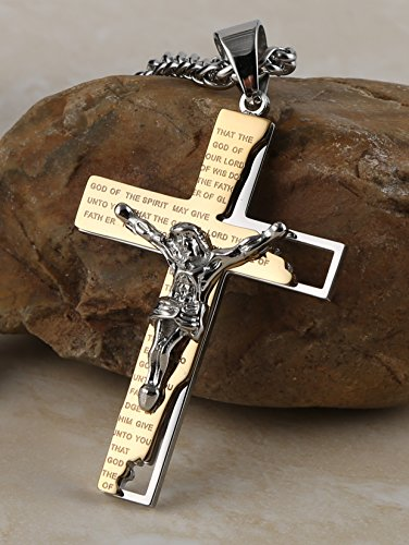 HZMAN Men's Stainless Steel Cross Crucifix Bible Prayer Pendant Necklace 24'' Chain Gold by HZMAN (Image #3)