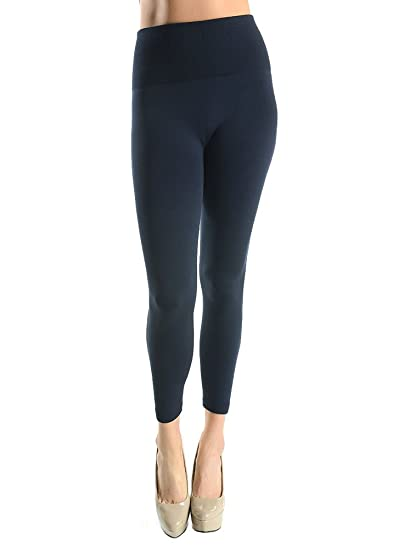 c1724bea35de7a Sofra Womens Tummy Tuck High Waisted Fleece Leggings-Black-One Size Fits  Almost All
