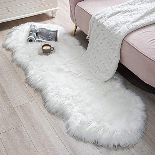BAYKA Faux Sheepskin Fur Area Rug, Luxury Fluffy Area Rug, Soft Furry Carpet Rug for Bedroom, Children's Room, Decor Rug 2.1x6 Feet, Ivory