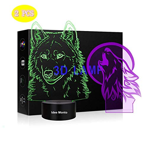 Price comparison product image Idee Monto,  Wild Wolf 3D Night Light Touch Switch Table Desk Optical Illusion Lamps,  7 Color Wolf Modeling Acrylic Flat Lights Birthday Gift Toys Home Bedroom Bedside Bar Decoration Gift
