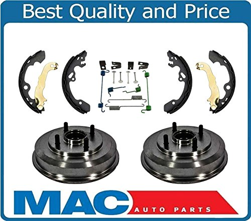 (100% New Rear Drums Wheel Bearings Brake Shoes and Hardware for Ford Focus 00-08)