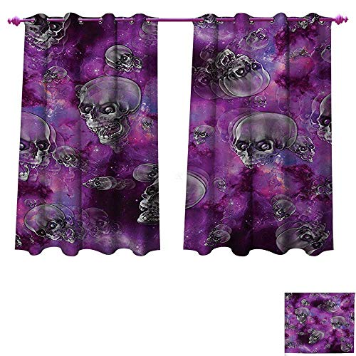 Skull Window Curtain Fabric Horror Movie Thirller Themed Flying Skull Heads Halloween in Outer Space Image Drapes for Living Room W72 x L63 Black and Purple -