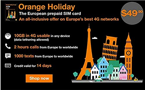 Orange Holiday Europe – 10GB Internet Data in 4G/LTE (+10GB Additional for  SIMS Activated from April 4TH) + 120 mn + 1000 Texts in 30 Countries in