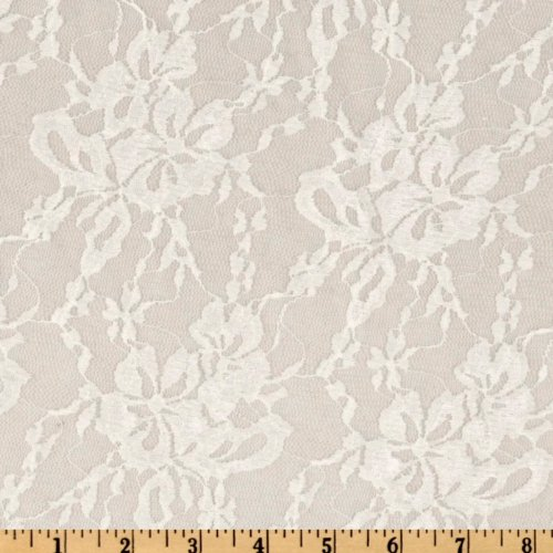 Giselle Stretch Floral Lace Ivory Fabric