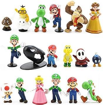 LoneFox Conjunto de 18 Personajes de Super Mario Bros Figura de acción Juguetes Modelo muñecas Decoraciones de Pastel: Amazon.es: Juguetes y juegos