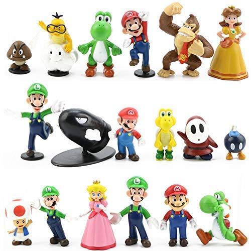 LoneFox Conjunto de 18 Personajes de Super Mario Bros Figura de accion Juguetes Modelo munecas Decoraciones de Pastel