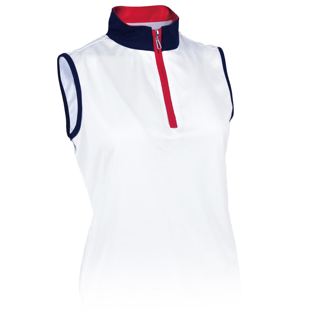 Monterey Club Ladies Dry Swing Sleeveless Hi-Low Contrast Zipped up Collar #2326 (White/Navy/Red, Medium)