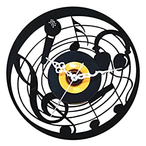 JustNile Creative Hollow Style Wall Clock - 12 inch Black Music and Record